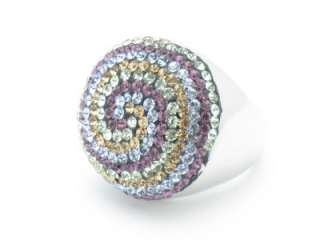 PLATINUM SILVER DIAMOND SET RAINBOW CRYSTAL RING NEW GIFT IDEA