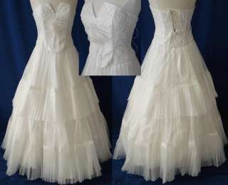 Formal Wedding Prom Ball Gown Dress Gala Off White XS 4