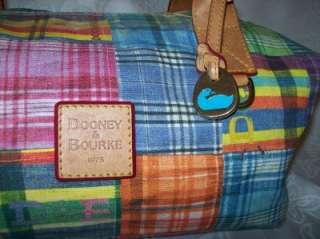 Madras Plaid Cotton Canvas Picnic Ant Large Duffle Bag Handbag