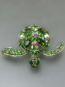 GREEN CRYSTAL RHINESTONE SEA TURTLE BROOCH PIN PENDANT FREE ZEBRA GIFT