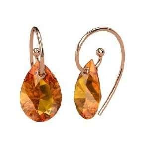 Monsoon Earrings, Pear Citrine 14K Rose Gold Earrings Jewelry