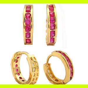 Fashion Jewelry Lady Red Ruby Hoop Fine Clear Topaz Yellow Gold GP