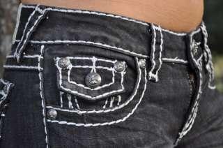 Idol jeans SZ 0 15 BLACK white stitching BOOT CUT FAST SHIPPING