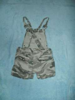 NORI girls 8 green CAMO cuffed bib Denim shortalls 26x3.5