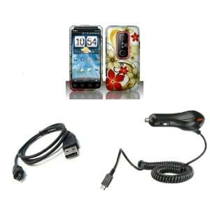 HTC EVO 3D (Sprint) Premium Combo Pack   Red and Gold Flower on Silver