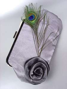 Chic Gray Satin Flower Bouquet Peacock Feather Clutch Evening Purse
