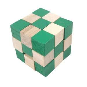 Children Two Tone Color Wooden Magic Cube Puzzle Toy Toys & Games