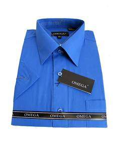 MENS ROYAL BLUE SHORT SLEEVE DRESS SHIRT ALL SIZES
