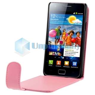 Pink Leather Case+Privacy LCD Film+2x Charger For Samsung Galaxy S II