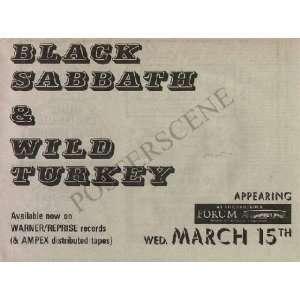 Black Sabbath Forum Newspaper Concert Ad 1972