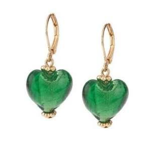 Heart Shaped Venetian Style Glass Earrings, Set of 5