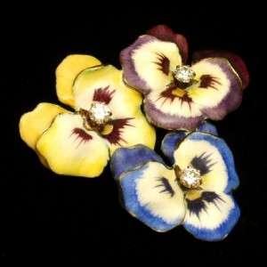Pansy Pin 14k Yellow Gold Diamonds Enamel Brooch Pendant 3 Flowers
