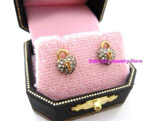 Juicy Couture HEART Padlock Stud Earrings $48 Gold