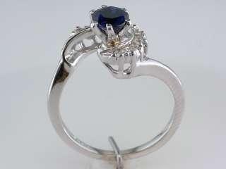 .80ct Sapphire & Diamond Art Deco 14K White Gold Engagement Ring