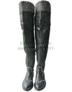 Lovely Miu Miu Studded Black Leather Over Knee Boots 35