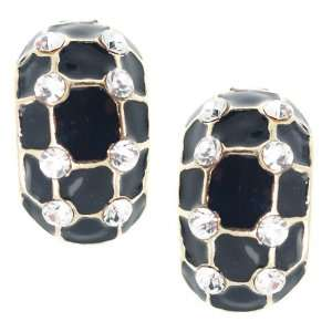Lucretia Gold Black Crystal Clip On Earrings Jewelry