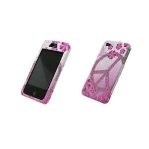 Pink Peace Flower Design Hard Cover Crystal Case for Apple