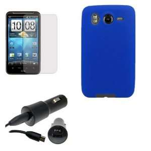 HTC INSPIRE 4G BLUE SILICONE CASE, OEM CAR CHARGER, LCD