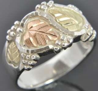 Black Hills 12K Gold & Sterling Silver Leaves Wide Band Ring Sz 9.75