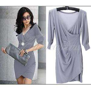 Grey V Neck 3/4 Sleeve Cocktail Evening Party Dress #01302