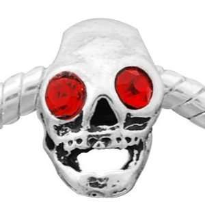 Antique Silver Red Crystal Rhinestone Skull Pandora Style Spacer