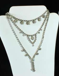 Vintage Lot of 47   Silver Tone Clear Rhinestone Necklace Pin Buckle