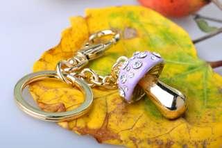 Lovely crystal keychain crystal mushroom key chain key ring bag