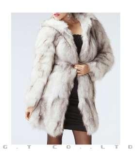 0224 women fox fur long coat jackets garment coats overcoat apparel