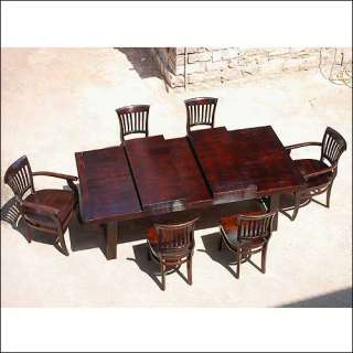 Pc Large Dining Table & Chairs Set w Extension Rustic Furniture