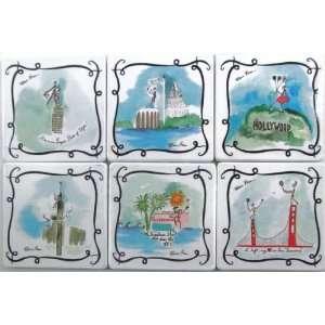 Rebecca Moses Set 6 Square Tile Drink Beverage Coasters