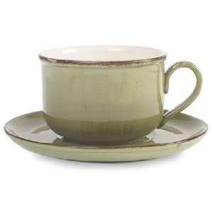 Ceramiche Alfa Ital Earthenware Olive Green Cafe Au Lait Cup & Saucer