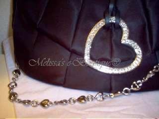 LOVCAT   SWEET TIES BLACK PURSE W/ GOLD CRYSTAL HEART   NWT lovecat