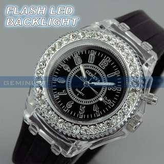 Bezel Flash LED Backlight Light Jelly Gel Band Lady Girl Sport Watch