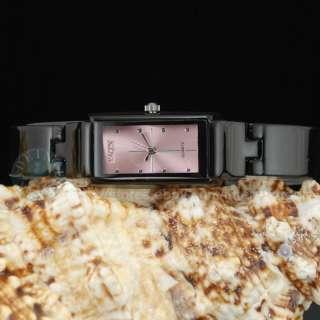 Ceramic Black+Pink Lady Dress Bracelet Wrist Watch Gift