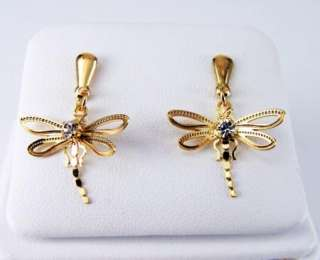 Gold 18k GF Filigree CZ Crystal Dragonfly Earrings