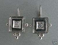 DESIGNER 14K WHITE GOLD SQUARE ETRUSCAN EURO WIRE DIAMOND EARRINGS