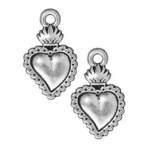 Silver Plated Pewter Dia De Los Muertos Sacred Heart