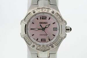 Ladies Seiko Coutura Pink Mother of Pearl Dial Diamond Bezel St. Steel