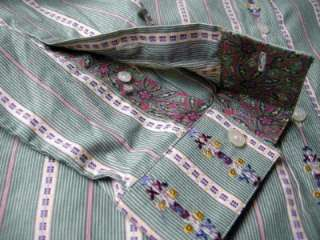 Robert Graham REDDING (Sz L) Mens GREEN Embroidered Flower Shirt