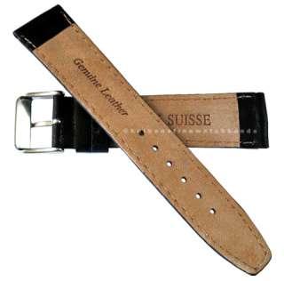 20mm fits Hamilton Khaki Black Leather Mens Chrono Watch Band Strap
