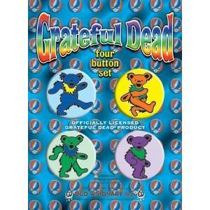 THE GRATEFUL DEAD ASSORTED DANCING BEARS BUTTON SET: Toys & Games