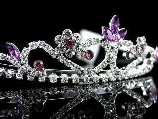 3cm High Wedding Prom Purple Crystal Bridal Flower Girl Tiara Headband