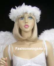 White elastic feather angel halo ring cuff neckwear
