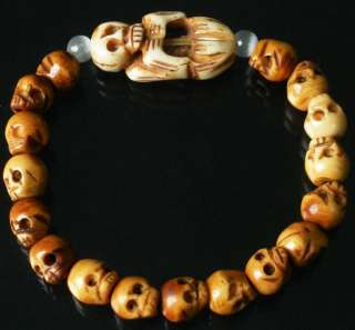 Tibet Ox Bone Skull Beads Buddhist Prayer Mala Bracelet