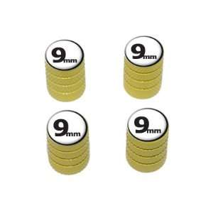 9mm Gun Weapon Bullet   Tire Rim Valve Stem Caps   Yellow