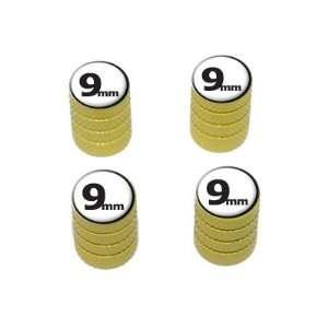 9mm Gun Weapon Bullet   Tire Rim Valve Stem Caps   Yellow