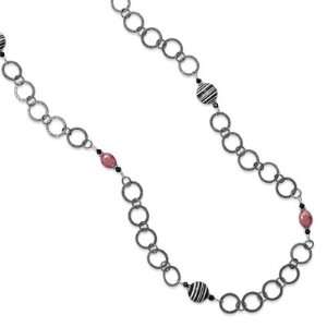Multibead Gunmetal Necklace   35 Inch: Jewelry