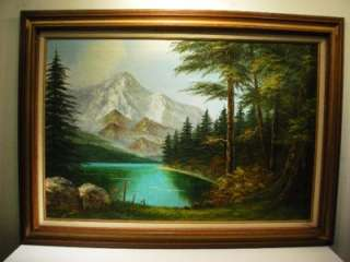 VINTAGE OIL PAINTING CANVAS MOUNTAIN LANDSCAPE SG