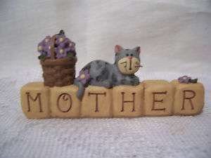 Mother Kitty Cat Block Basket Flowers Mothers Day NeW Gift