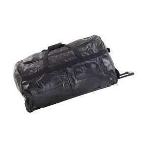Hand Sewn Pebble Grain Genuine Leather Rolling Duffle Bag Electronics
